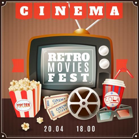 Cinema Retro Movies Festival Aankondiging Poster vector