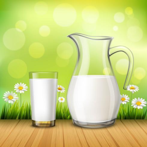 Kruik en glas melk vector
