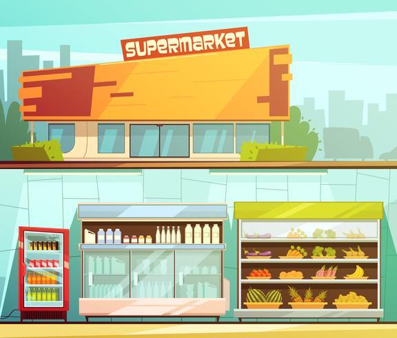 Supermarkt 2 Retro Cartoon Banners Set vector