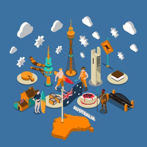 Australische toeristische attracties symbolen isometrische samenstelling vector