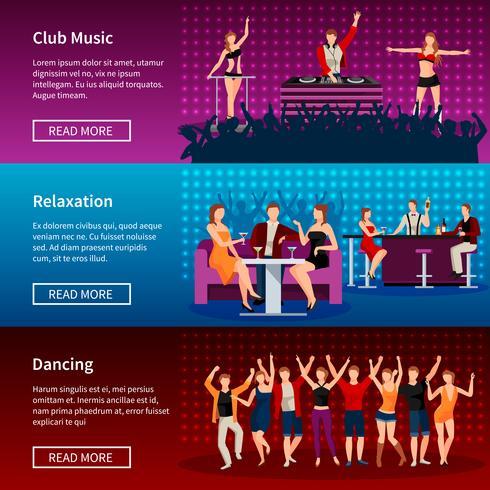 Nachtleven Dance Club Flat Banners Set vector