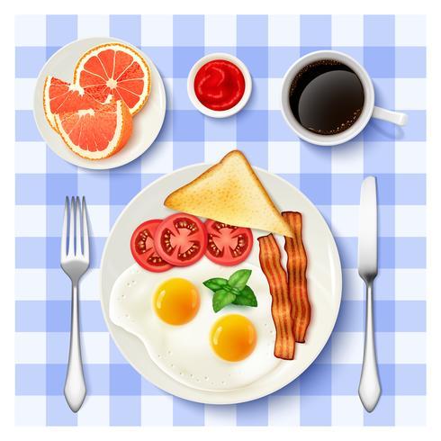 Amerikaans volledig ontbijt Bovenaanzicht beeld vector