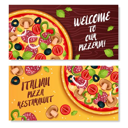 Italiaanse pizza horizontale banners vector