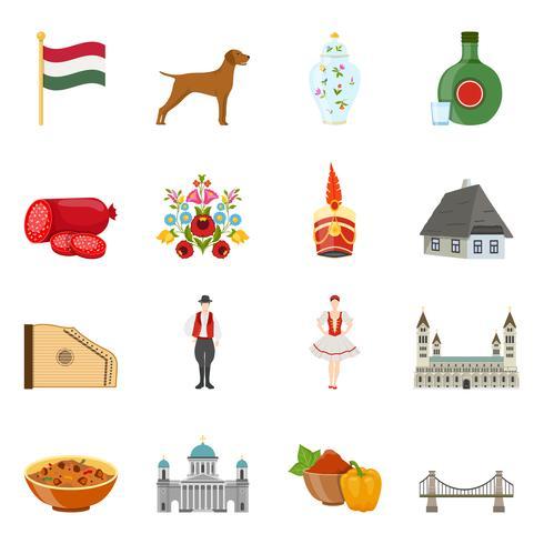 Hongarije reizen Icon Set vector