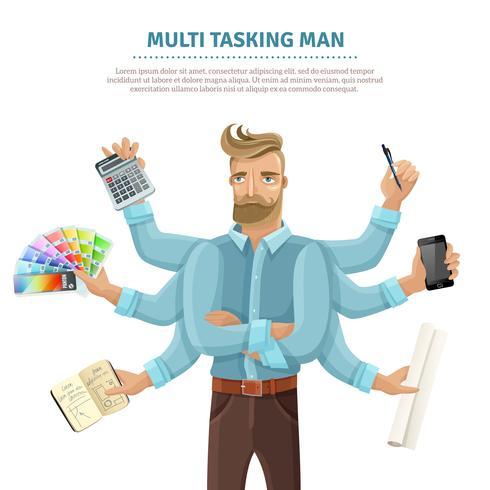 Multitasking man vlakke poster vector