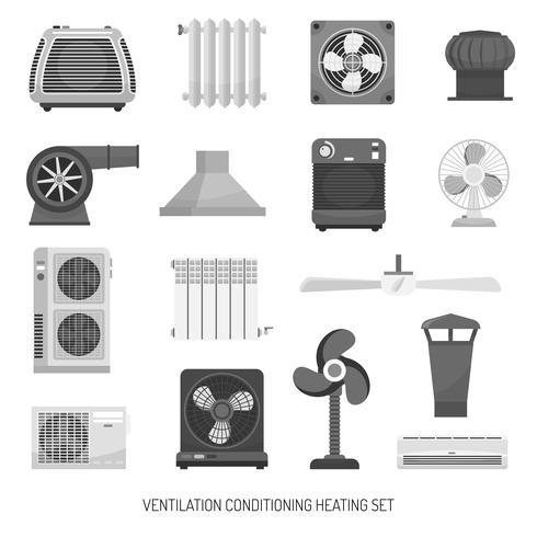Ventilatie conditionerende verwarmingsset vector