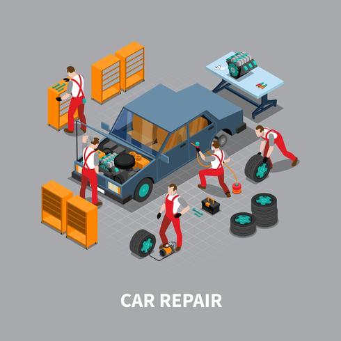Auto reparatie Auto centrum isometrische samenstelling vector