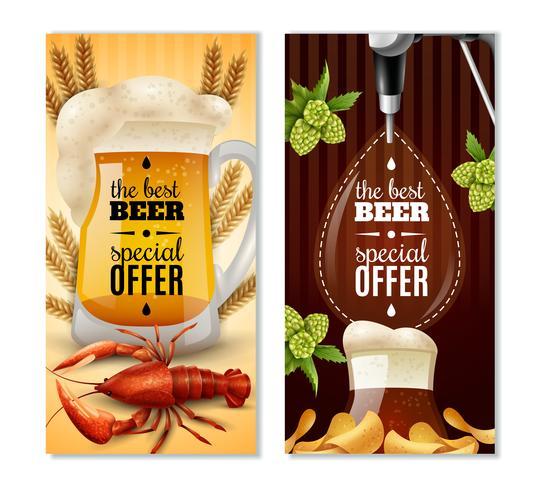 Dark Light Beer 2 verticale bannersenset vector