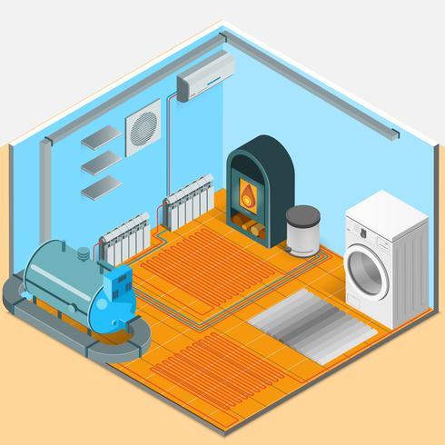 Verwarming koelsysteem interieur isometrische sjabloon vector