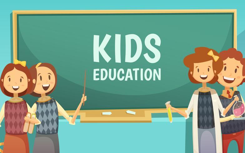 Kinderen basisonderwijs Cartoon Poster vector