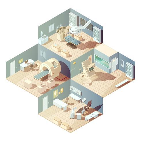 Isometrische ziekenhuisconcept vector