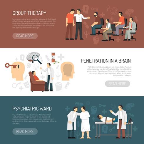 Psycholoog horizontale banners vector