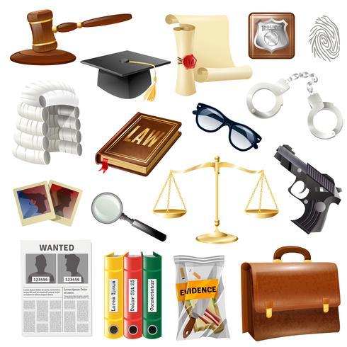 Law Justice objecten en symbolen collectie vector