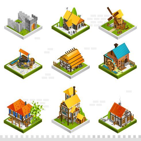 Middeleeuwse gebouwen isometrische collectie vector