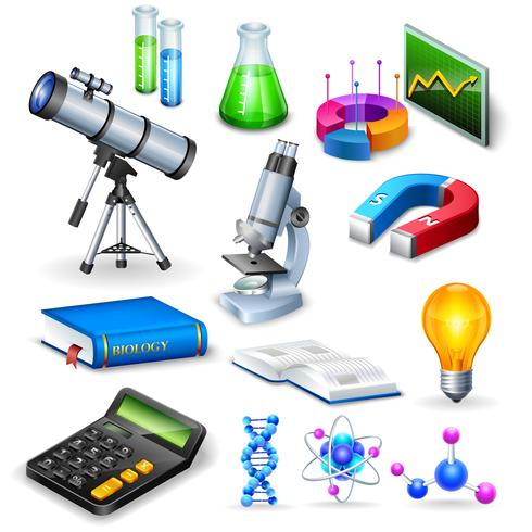 Wetenschap realistische pictogrammen instellen vector