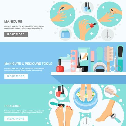 Manicure pedicure tools 3 platte banners vector