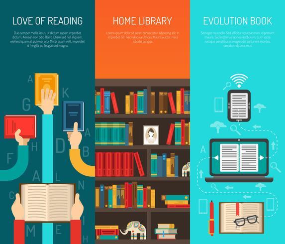 bibliotheek lange handen platte bannes set vector