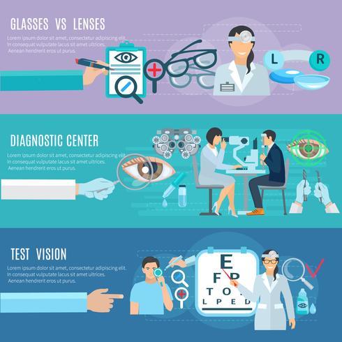 Oculaire Diagnostic Center Flat Banners Set vector