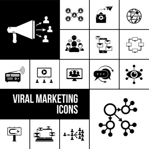 Virale marketing pictogrammen zwart vector