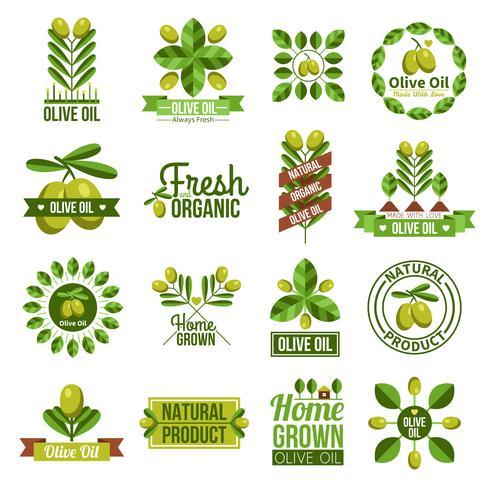 Organische natuurlijke olijfolie-etiketset vector