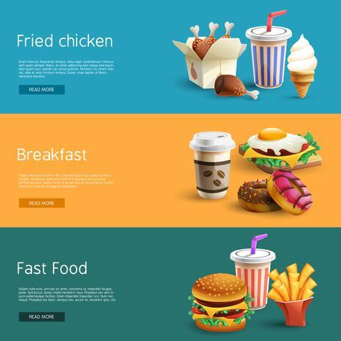 Fast-food opties Pictogrammen 3 Horizontale banners vector