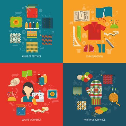 Textiel conceptreeks vector