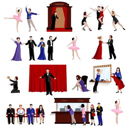 Afbeeldingen Set Theater Mensen vector