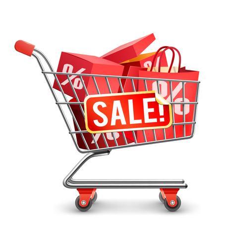 Verkoop volledig winkelwagen rode pictogram vector
