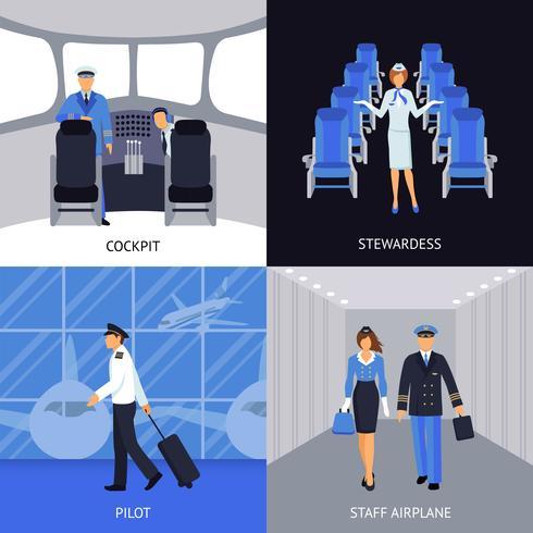 Piloot en stewardess 4 plat pictogrammen vector