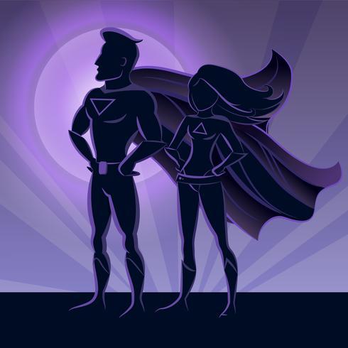 Superheld paar silhouetten vector