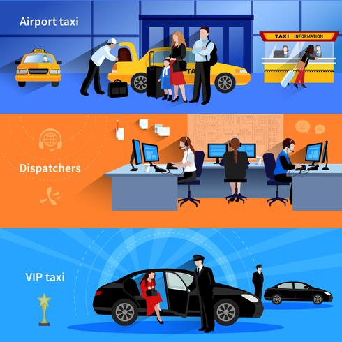 Taxi horizontale banners vector