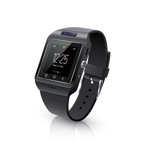 smart watch realistisch beeld zwart vector
