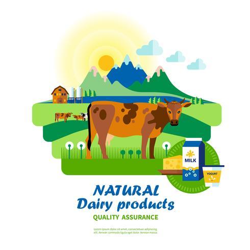 Natuurlijke zuivelproducten Kwaliteitsborging vector