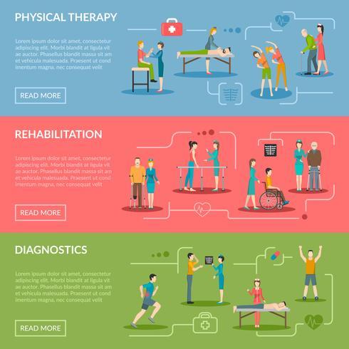 Rehabilitatiebanners voor fysiotherapie vector