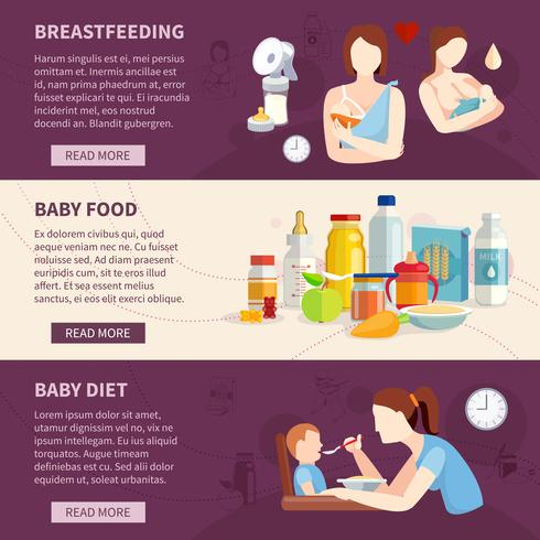 Babyvoeding horizontale banners instellen vector