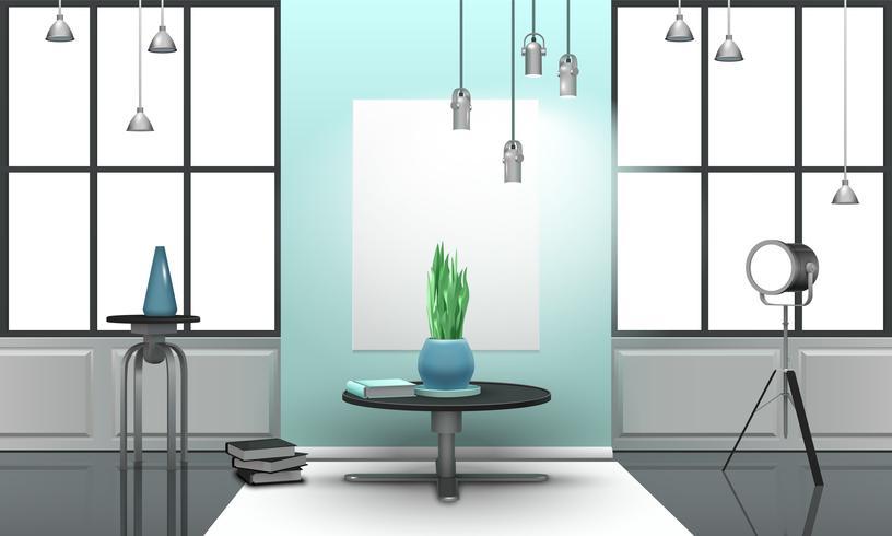 Realistische loft interieur in lichte kleuren vector