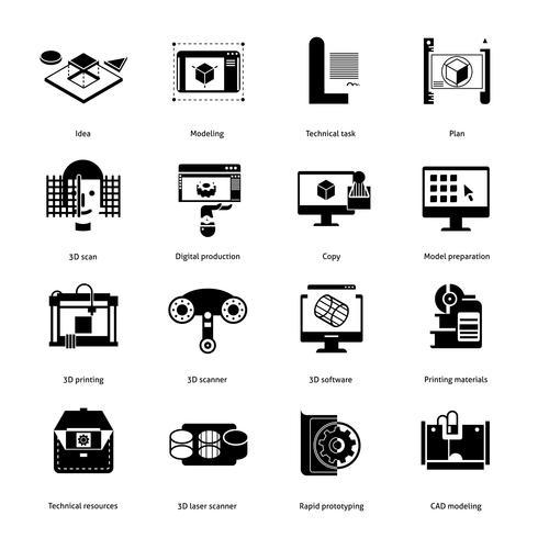 Prototyping en modellering Icons Set vector
