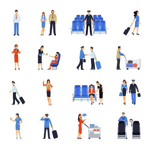 Pilot en stewardess plat pictogrammen instellen vector