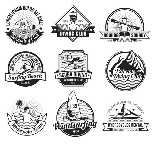 watersport zwarte label set vector