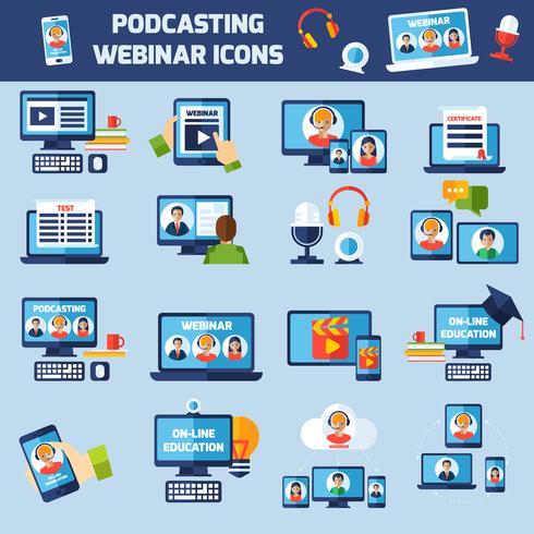 Podcasting en webinar pictogrammen instellen vector