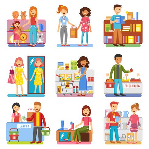 Familie winkelen Concept platte PIctogrammen collectie vector