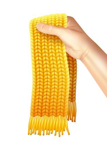 Gebreide sjaal in de hand realistische illustratie vector