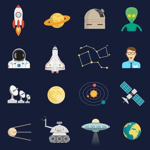 ruimte kosmos plat pictogrammen instellen vector
