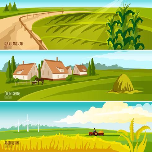 Platteland 3 horizontale vlakke banners instellen vector