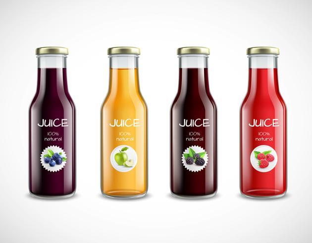 Glazen flessen met vruchtensap collectie vector