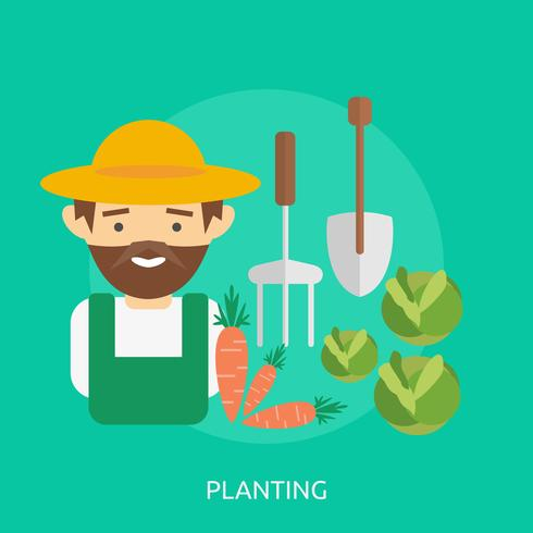 Het planten van conceptuele afbeelding ontwerp vector