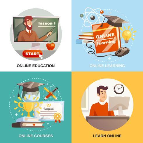 online learning 2x2 ontwerpconcept vector