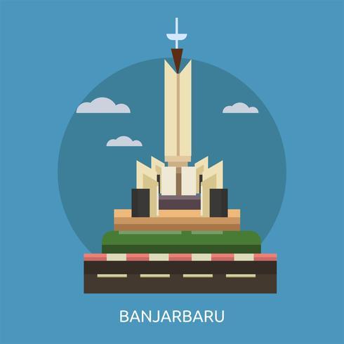 Banjarbaru Stad van Indonesië Conceptuele afbeelding ontwerp vector