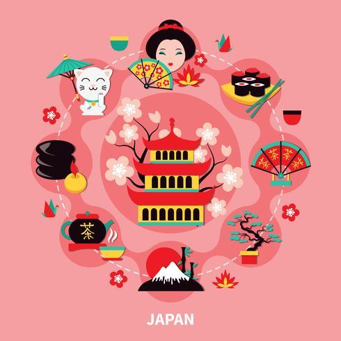 Ontwerp van de oriëntatiepunten in Japan vector