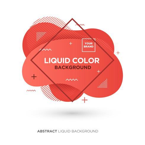 Abstract Liquid Living Coral Color Banner met lijnkader en merklogo vector